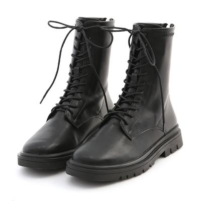 D+AF 酷感百搭.軟皮革綁帶馬汀短靴*黑