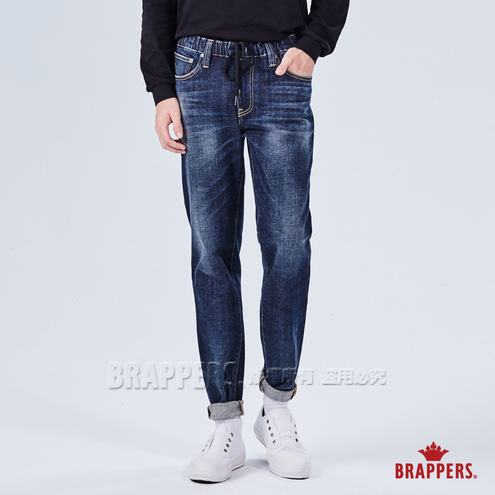 BRAPPERS 男款 中低腰彈性鬆緊帶八分褲-藍