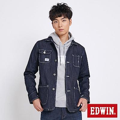 EDWIN 多口袋牛仔外套-男-原藍色