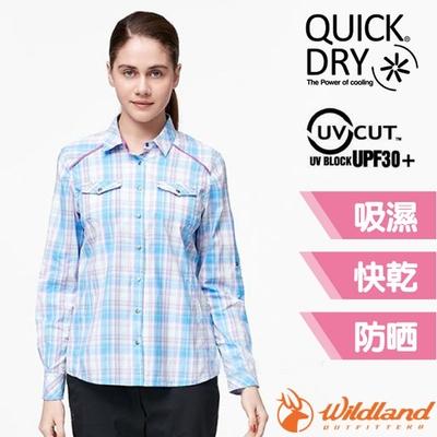 荒野 WildLand 女新款 彈性抗UV格子長袖襯衫.休閒排汗衫_丁寧藍
