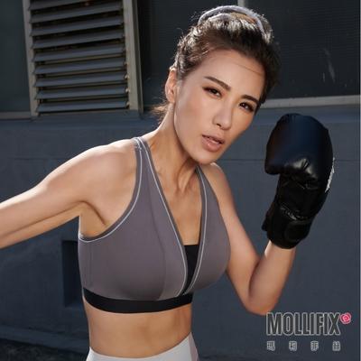 【小禎聯名設計】Mollifix 瑪莉菲絲 TRULY 高強度V領美背運動內衣 (日暮灰)