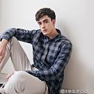 GIORDANO 男裝純棉雙口袋經典牛仔襯衫-11 灰藍格紋