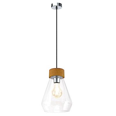 EGLO歐風燈飾 文青風美型木紋雙色吊燈(不含燈泡)