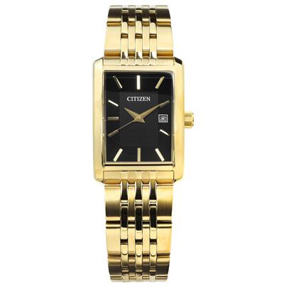 CITIZEN 復古礦石強化玻璃日期日本機芯不鏽鋼手錶-黑x鍍金/26mm