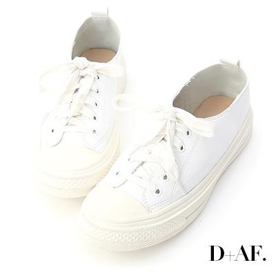 D+AF 樂活假期.柔軟皮革綁帶休閒鞋*白