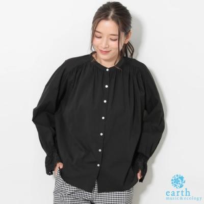 earth music 刺繡蕾絲喇叭袖剪裁襯衫上衣