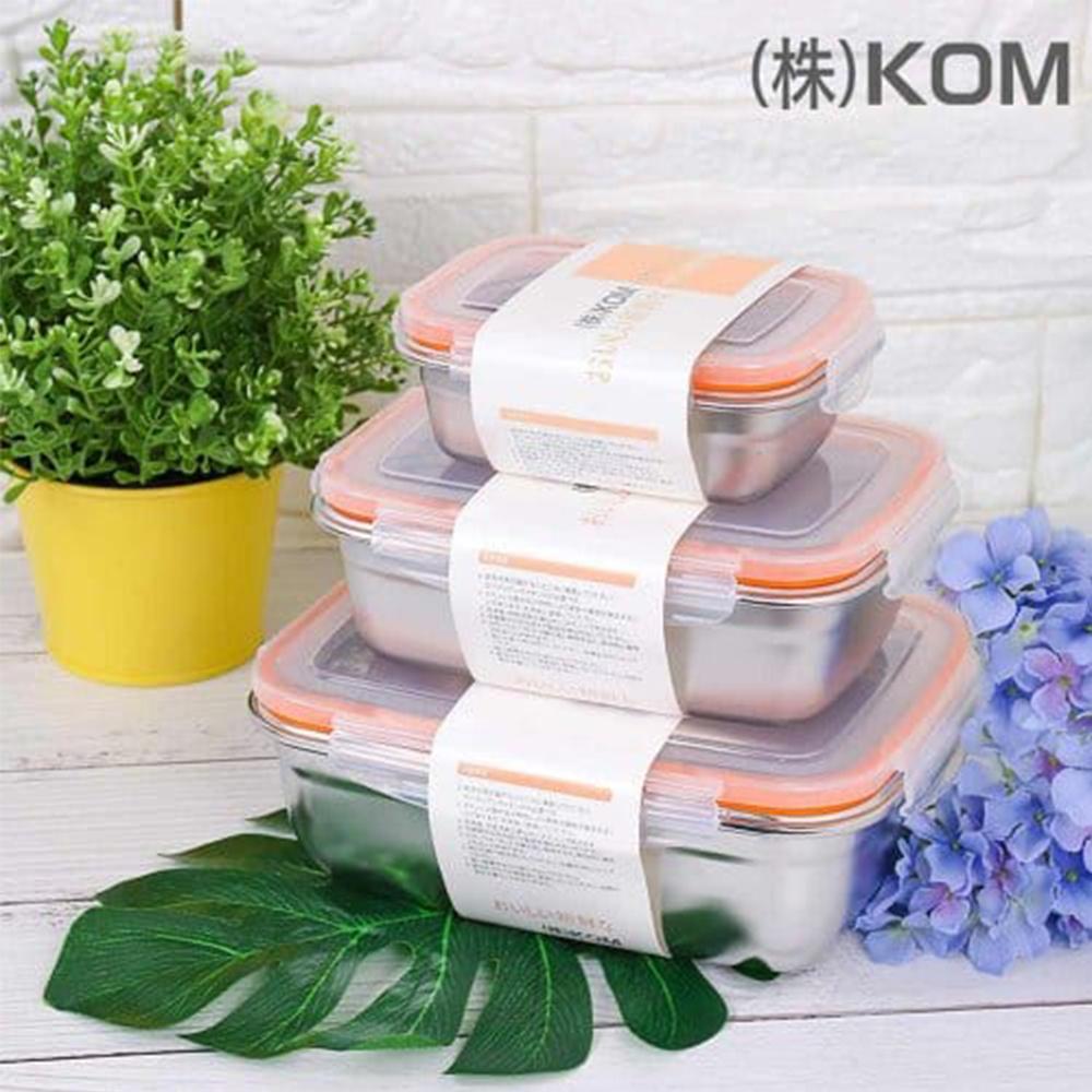 KOM 不鏽鋼保鮮盒三件組-蜜桃橘