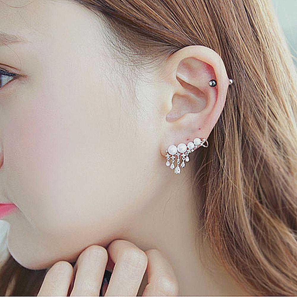 梨花HaNA 韓國925銀申敏兒花鑽珍珠流蘇耳環