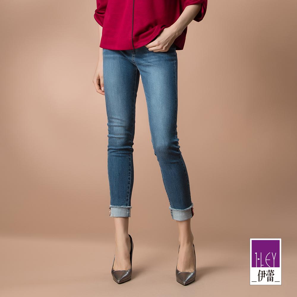 ILEY伊蕾 彈性刷白窄管牛仔褲(藍)