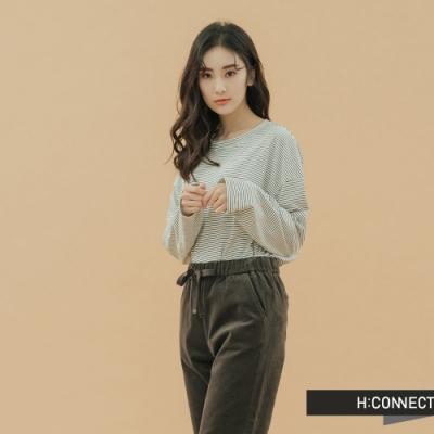 H:CONNECT 韓國品牌 女裝 - 條紋落肩上衣 - 黑