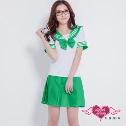 角色扮演 青春愛戀 日系學生水手服表演角色服(綠M.XL) AngelHoney天使霓裳