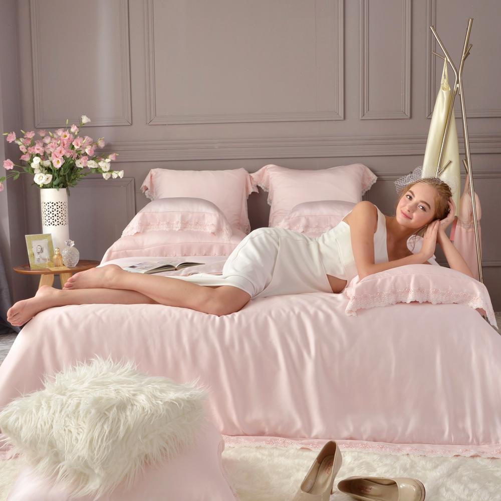 義大利La Belle 米菲娜 加大天絲蕾絲四件式防蹣抗菌吸濕排汗兩用被床包組