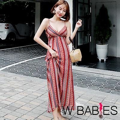 正韓 民族風交疊深V領細肩帶洋裝 (紅色)-W BABIES