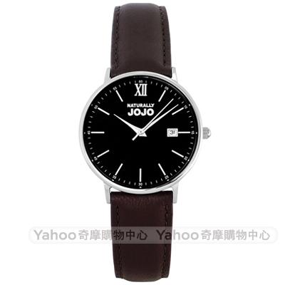 NATURALLY JOJO 簡約風尚真皮手錶女錶-黑X咖啡/35mm