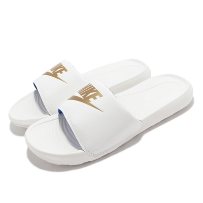 Nike 拖鞋 Victori One Slide 男女鞋 輕便 基本款 套腳 情侶穿搭 舒適 白 金 CN9675-105