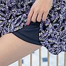 腰鬆緊抽繩薰衣草印花短褲裙-OB大尺碼