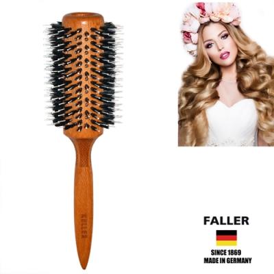 芙樂FALLER德國製 FSC櫸木大尺寸黑豚鬃圓珠熱對流熱塑梳捲髮梳74MM  (一入)