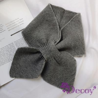Decoy 軟萌蝴蝶 俏麗交叉針織脖圍短圍巾 灰