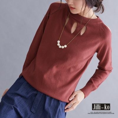 JILLI-KO 小露肩針織上衣- 磚紅/黑