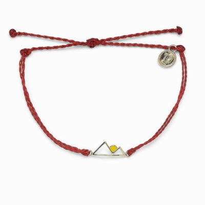 Pura Vida 美國手工 SUNRISE 銀色日出 紅色蠟線衝浪手鍊手環