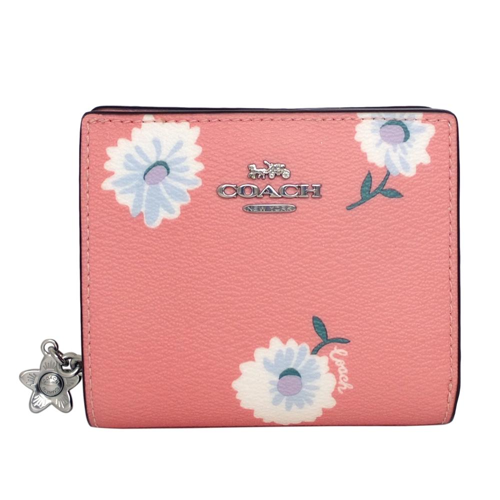 COACH粉紅雛菊花印C字拉鍊袋釦式雙摺短夾