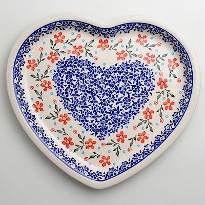 波蘭陶藍印紅花系列愛心造型餐盤波蘭手工製