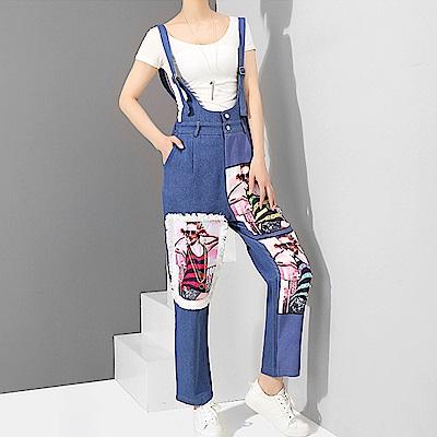 立體裝飾印圖牛仔吊帶長褲-(藍色)Andstyle