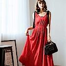 ANIREK 垂墜飄逸無袖綁帶洋裝-紅