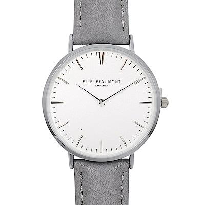 Elie Beaumont 英國時尚手錶 牛津系列 白錶盤x牛津灰錶帶x銀錶框38mm