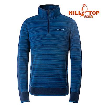 【hilltop山頂鳥】男款ZISOFIT吸溼快乾保暖刷毛上衣H51MH4丈青條