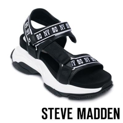 STEVE MADDEN-MAGNITUDE 前衛粗帶舒適氣墊涼鞋-黑色