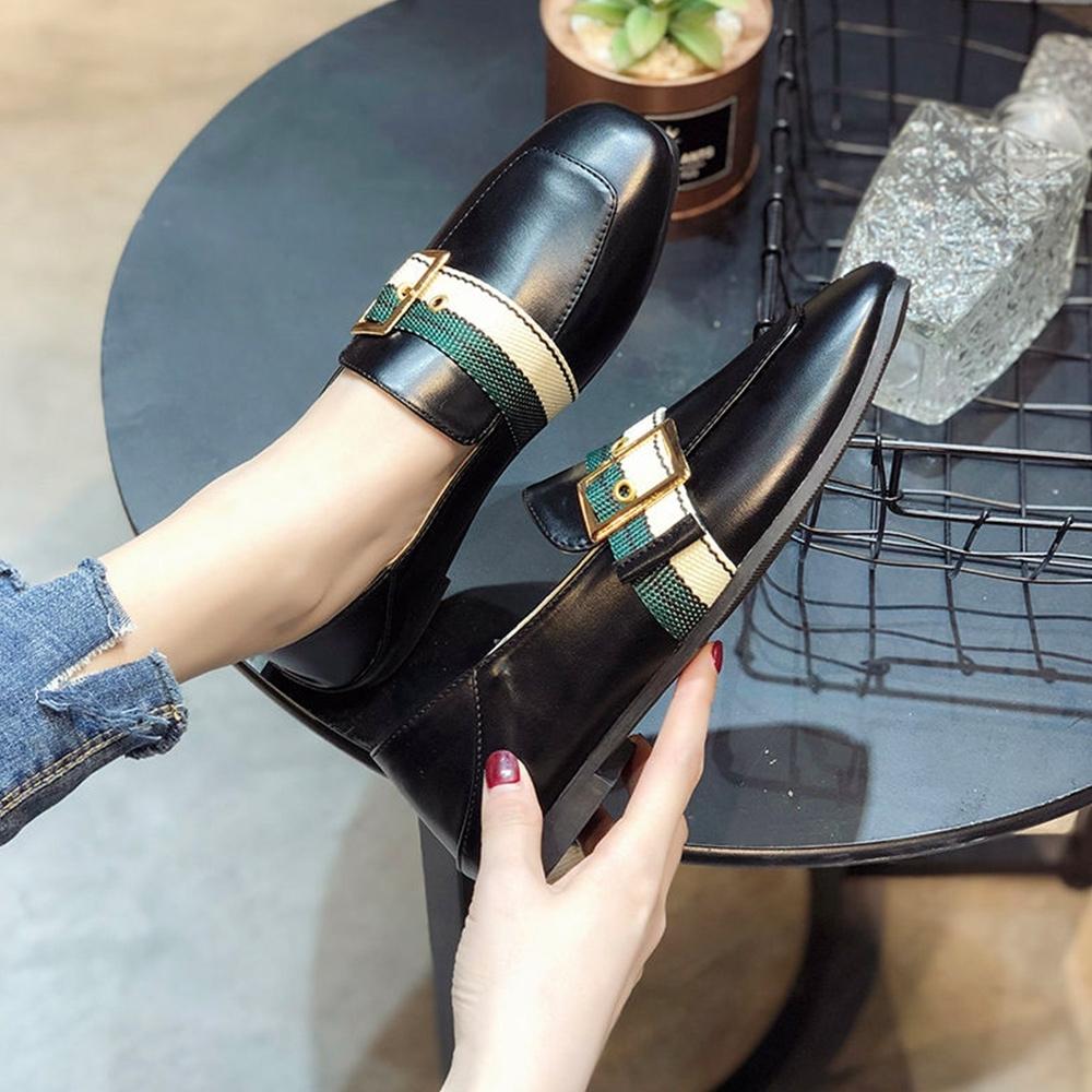 韓國KW美鞋館-(現貨)追加款時尚休閒百搭方頭樂福鞋(共2色) (黑色)