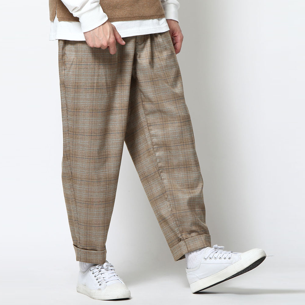 寬版錐形9分褲素面格紋(7色) ZIP日本男裝