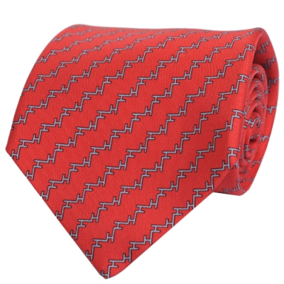 HERMES ESCALIER系列法國製經典緹花LOGO蠶絲領帶(紅)