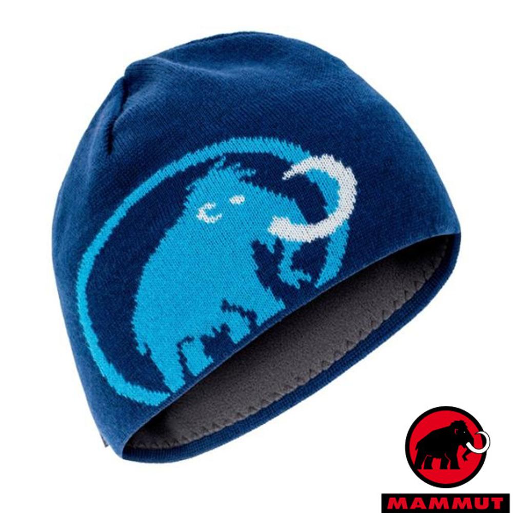 MAMMUT 長毛象 Tweak Beanie LOGO 超輕抗風針織保暖羊毛帽_群青藍
