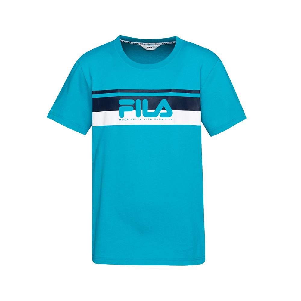FILA 男款短袖圓領T恤(合身版)-藍綠 1TET-1507-TQ