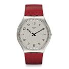 Swatch 超薄金屬系列 SKINROUGE 超薄金屬-情調紅-42mm