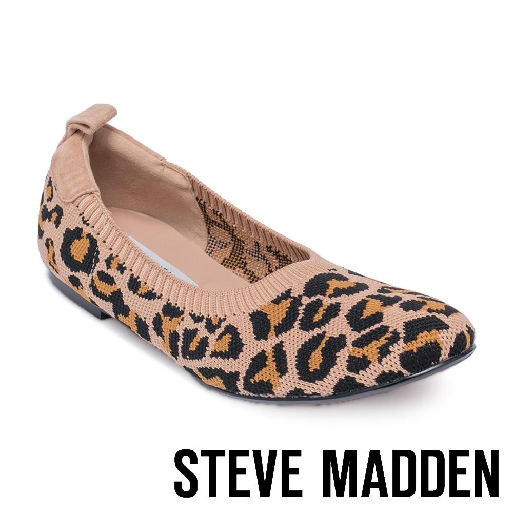 STEVE MADDEN-ELAINE 氣質款 彈性針織拼接平底鞋-豹紋咖