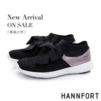 HANNFORT ICE 蝴蝶結針織輕短靴-女-黑