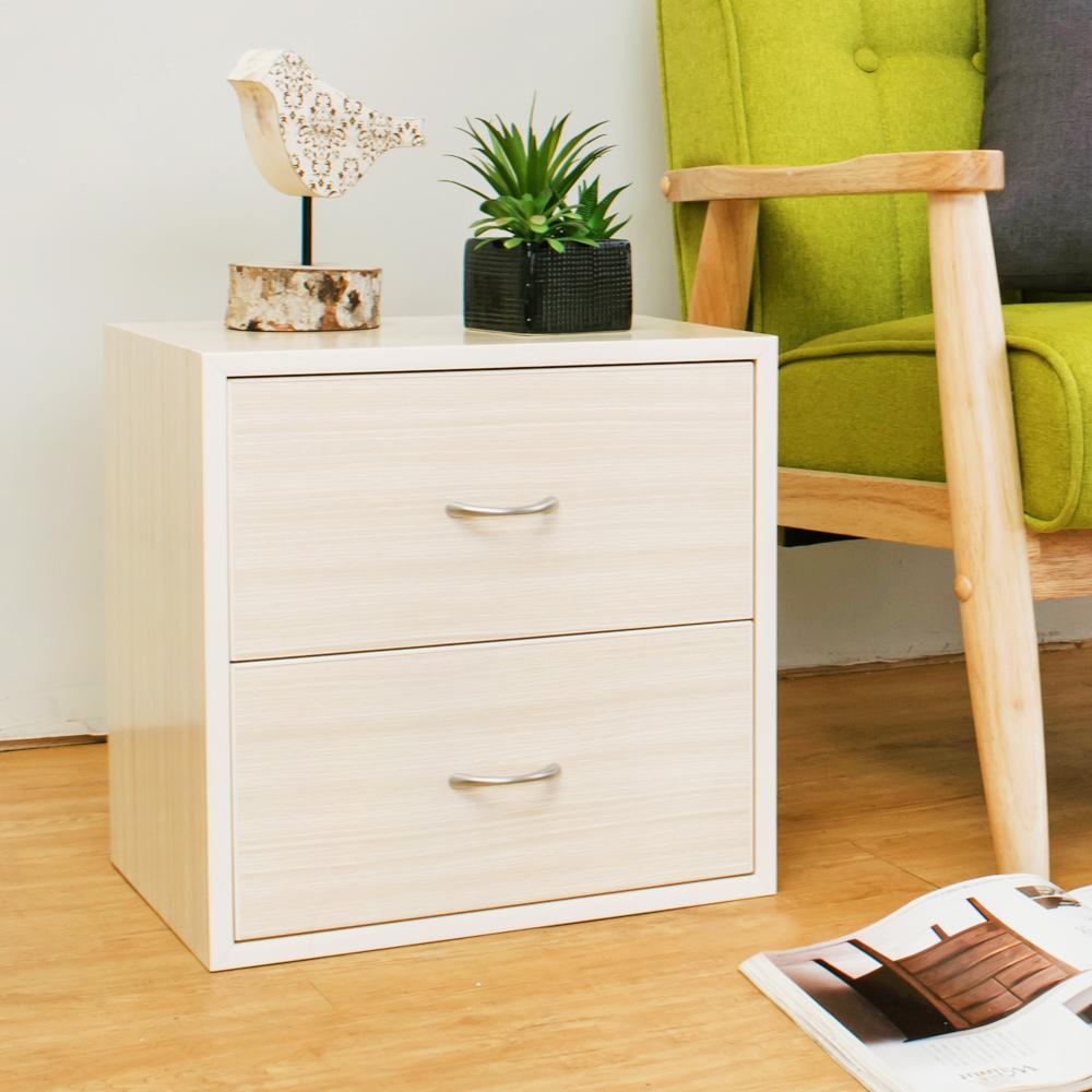 Birdie南亞塑鋼-1.3尺二抽收納櫃/床頭櫃/置物櫃(白橡色)-40x31x40cm