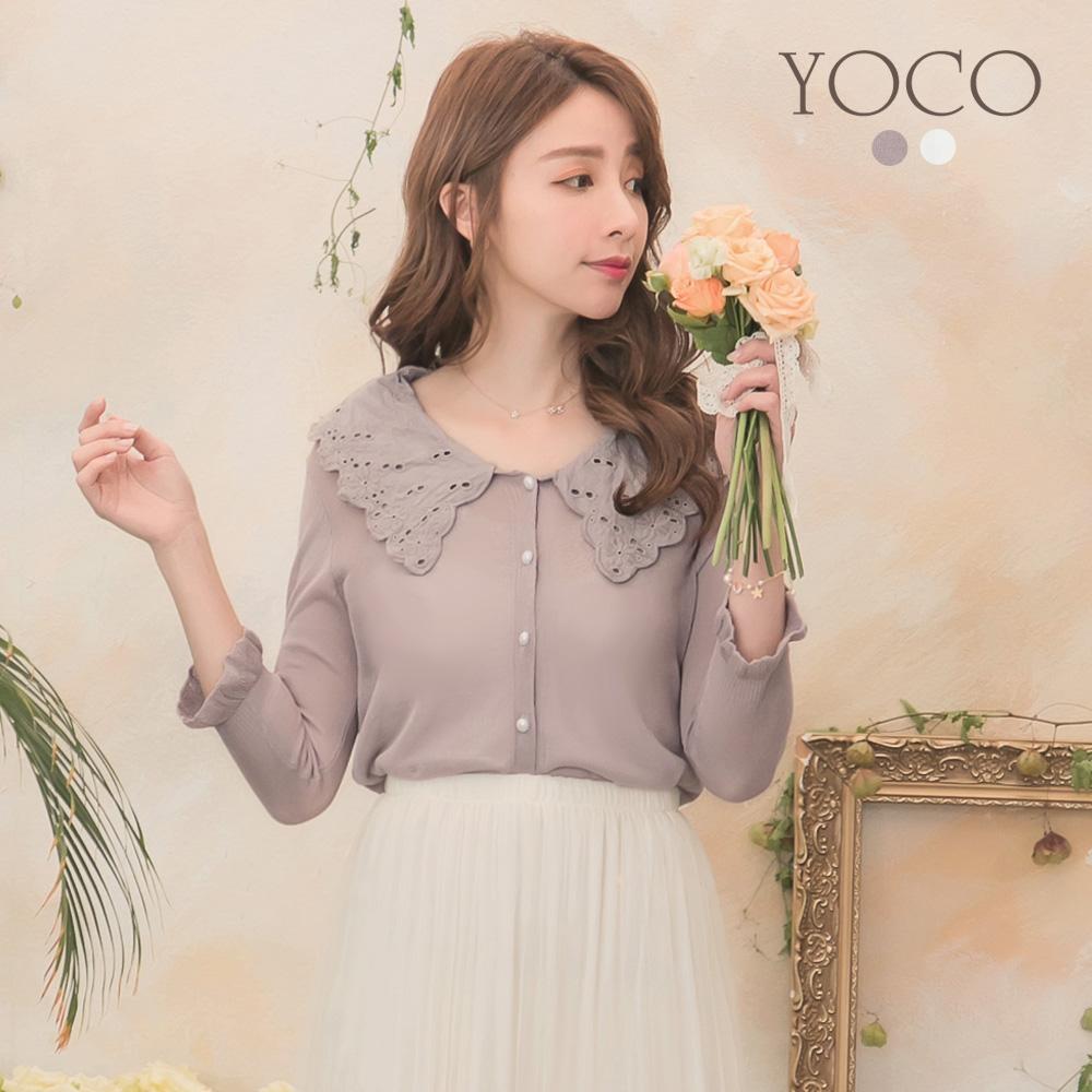 東京著衣-YOCO 典雅蕾絲荷葉領排扣針織外套-S.M(共兩色)