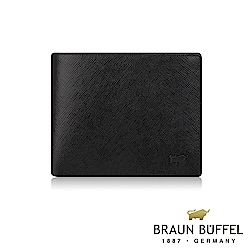 BRAUN BUFFEL - 洛菲諾P系列8卡中間翻窗格零錢皮夾 - 黑咖