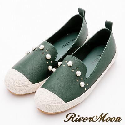 River&Moon大尺碼-韓版珍珠拼接麻編懶人鞋-綠