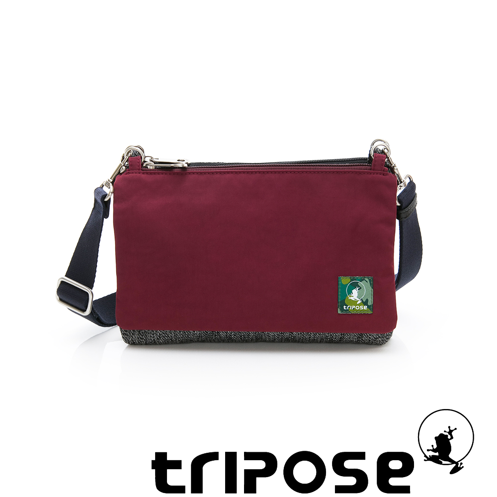 tripose MAJI系列黑岩紋x暖酒紅多變斜背包