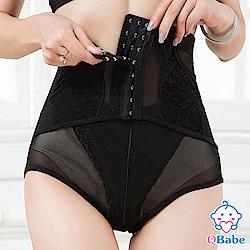 【QBabe】產後收腹提臀網紗美體塑身褲-黑色