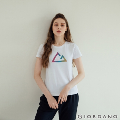 GIORDANO  女裝G-motion快乾棉T恤 - 01 標誌白