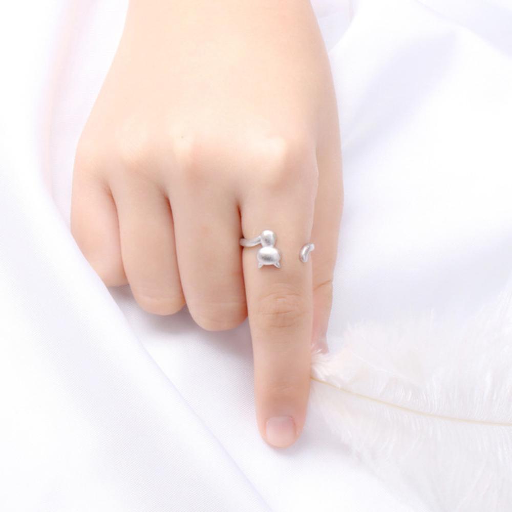 iSFairytale伊飾童話 站立貓咪 絲光磨砂白銀銅鍍30銀開口戒指