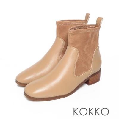 KOKKO時髦方頭拼接牛皮彈力粗跟襪靴奶茶色
