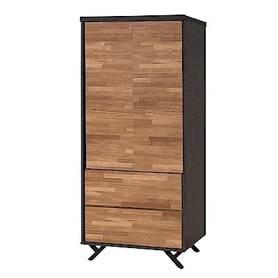 文創集 路華2.7尺兩抽雙色衣櫃(吊衣桿+二抽屜+開放層格)-80x55x180cm免組