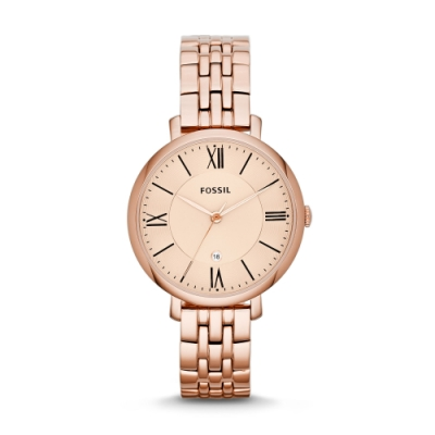 FOSSIL簡約質感羅馬玫瑰金腕錶ES3435
